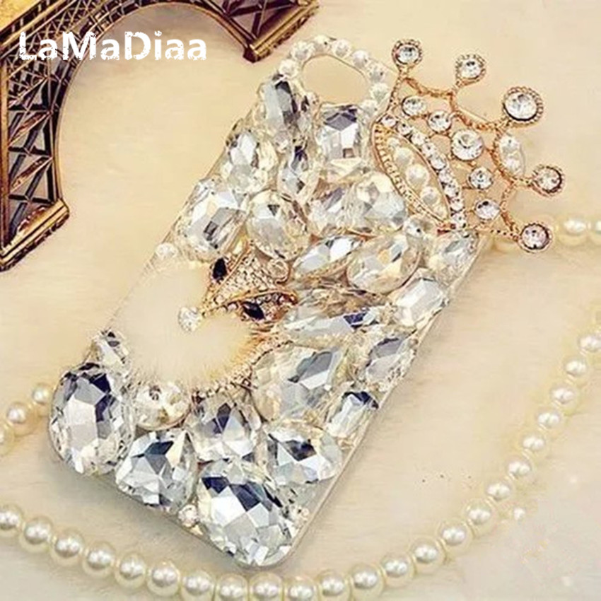 LaMaDiaa Bling Del Rhinestone Del Diamante Volpe e Crown Morbido Copertura Posteriore Della Cassa Del Telefono per iPhone X 7 8 Più 6 6 s Più 5 5 S SE 5C