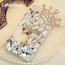LaMaDiaa Bling Strass Cristal Diamant Renard et Couronne Arrière Souple Housse de Téléphone Pour iPhone 12 11 Pro Max XR X 6 Plus 7 8 Plus