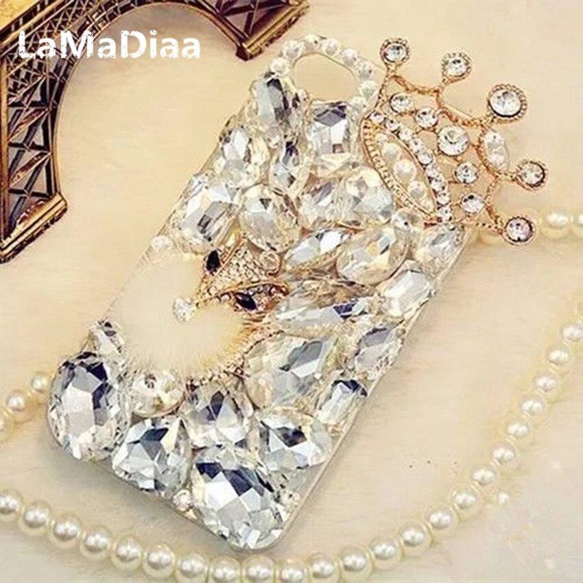 LaMaDiaa Bling Strass Kristall Diamant Fuchs und Krone Weicher Zurück-fall-abdeckung für iPhone X 7 8 Plus 6 6 s Plus 5 5 S SE 5C