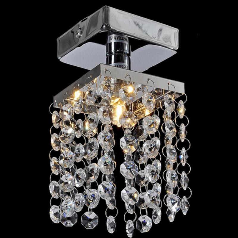 Modern LED kristal langit-langit lampu Lorong kamar tidur stainless steel lampu led K9 kristal led lustre cahaya Lampu Langit-langit