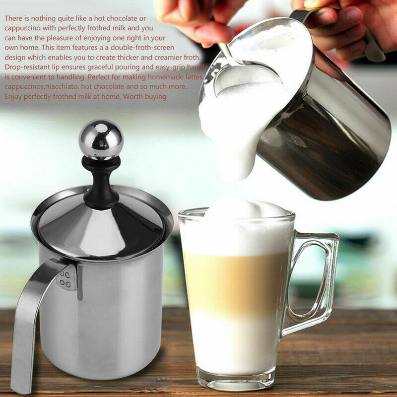 400ml /800ml Milk Frother Stainless Steel Manual Foam Coffee Cream Mixing Head Double Mesh Milking Machine