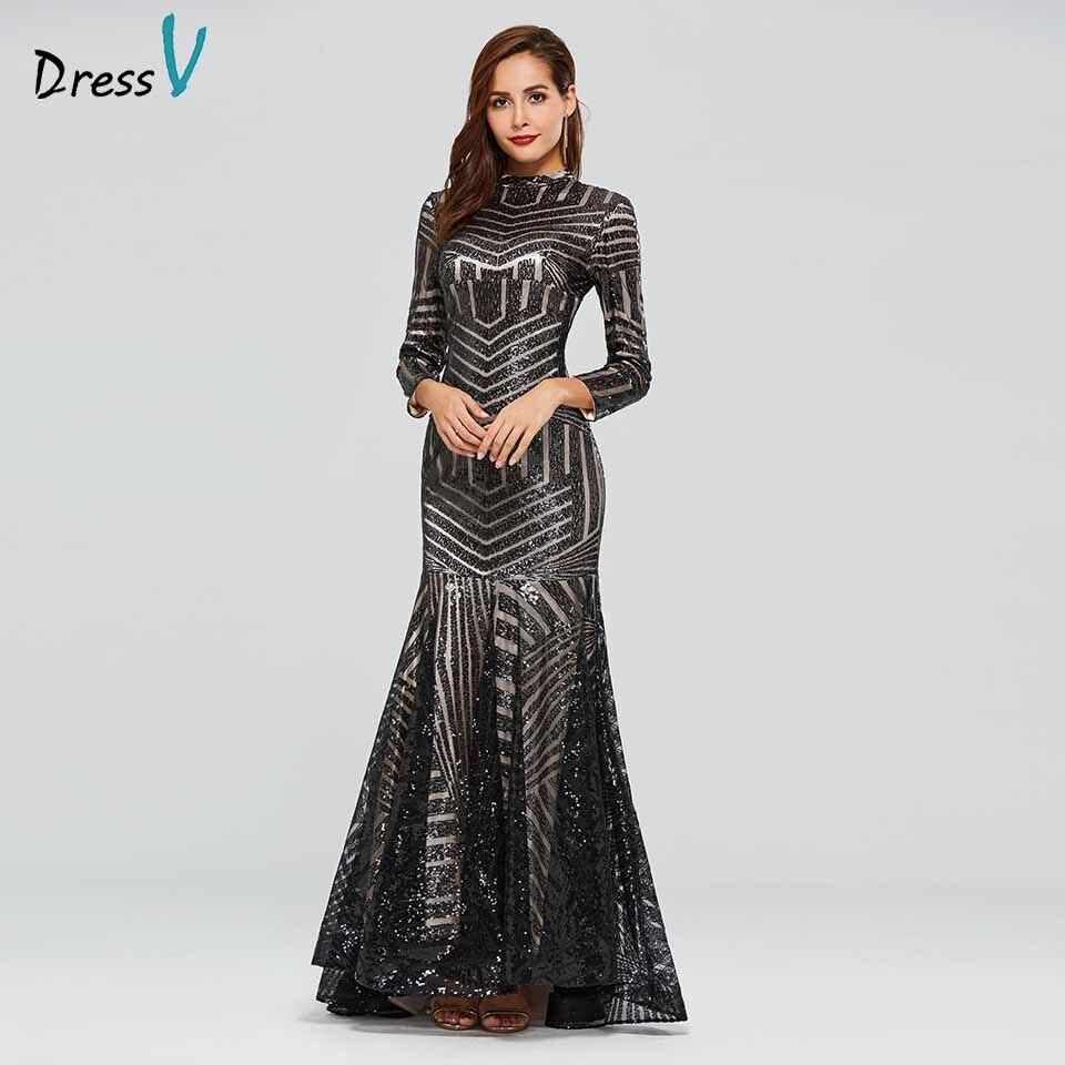 Dressv noir robe de soirée col haut à manches longues paillettes sirène de plancher-longueur de mariage partie formelle robe de soirée robes