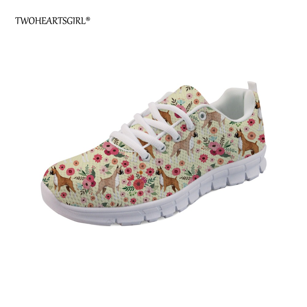 Twoheartsgirl Personalized Boxer Flower Sneakers Casual Lace Up Women Flats Breathable Ladies Printing Dog Mesh Flats Plus