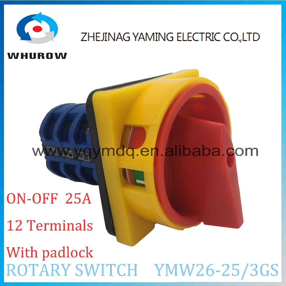LW26 YMW26-25/3GS Rotary switch knob 2 position ON-OFF padlock handle changeover cam switch 25A 3 phase silver contact load circuit breaker switch ac ui 660v ith 100a on off 3 poles 3 phases 3no 2 position universal rotary cam changeover switch