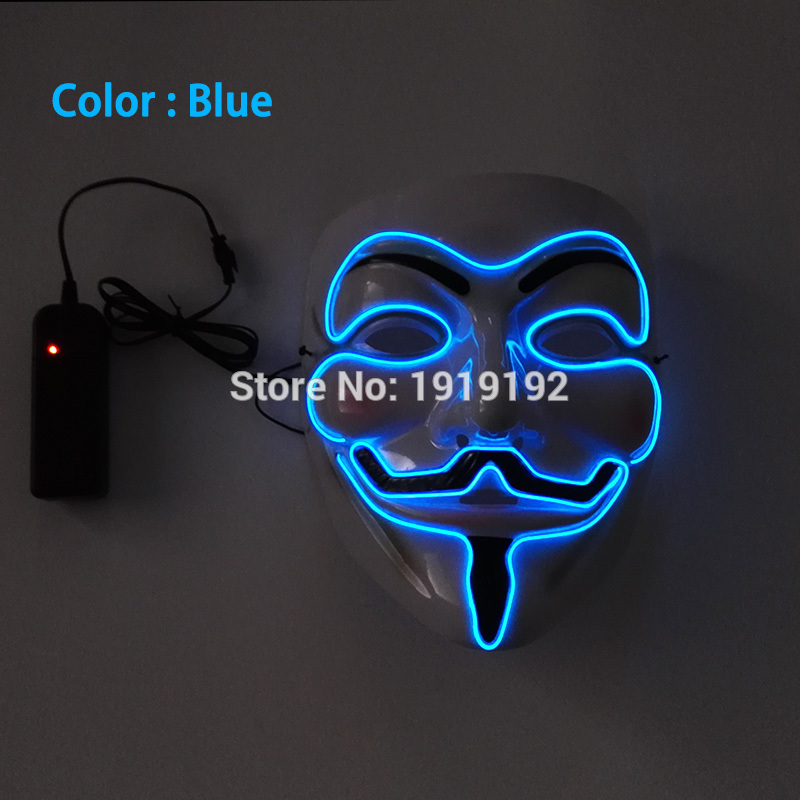 New style 10 color select cosplay EL Wire Light Up dj dance led V Vendetta rave Mardi party club Mask By 3V Steady on Driver