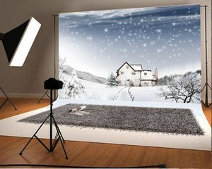 Photography Backdrop Christmas Rural Sow Wooden House Scenery Backdrops Party Studio|Background|   -