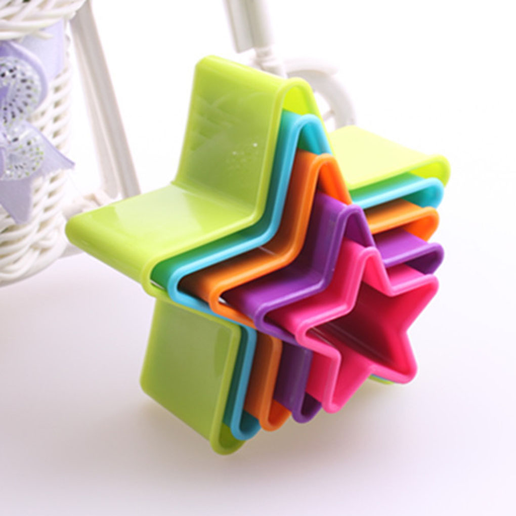 New Portable Colorful Child Baby Multi-shape Plastic Mold Cookie Biscuit Cutter Mould Pastry Maker Tools Random Color