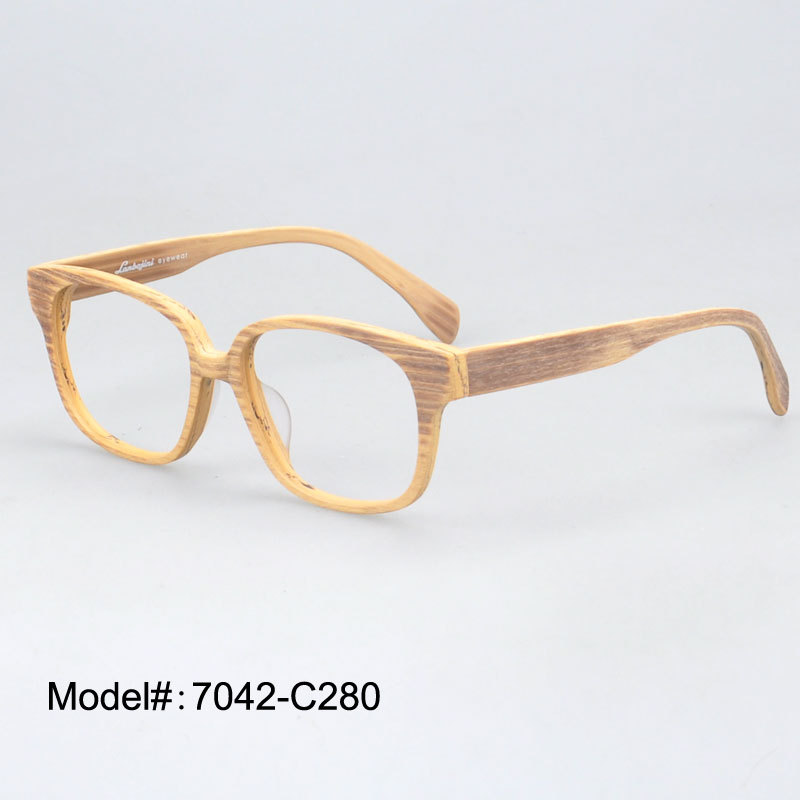 7042 fashin designer full rim super thin acetate and imitation wood eyeglasses frame myopia prescription