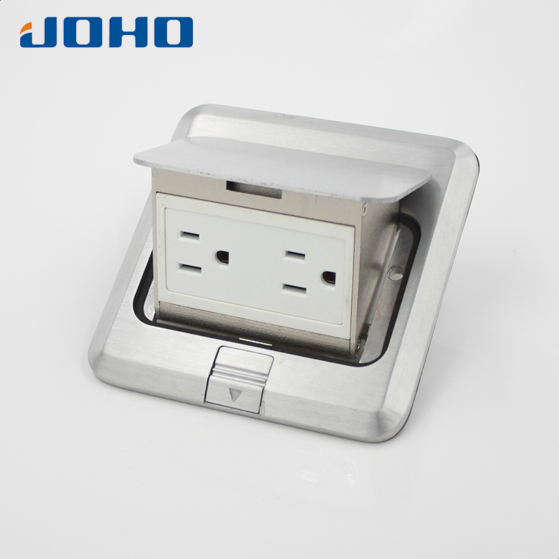 Aluminum alloy Material Fast Pop Up Floor Socket Box with UL Duplex receptacle 15A 125V brass slow pop up floor socket box with 15a 125v us socket rj45 computer data