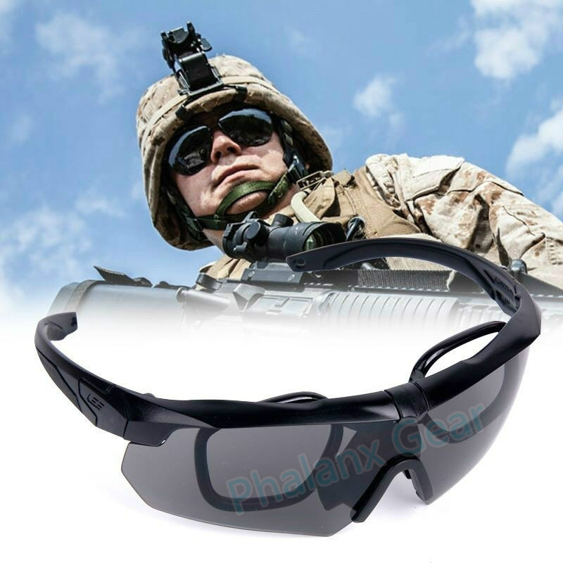 Mens Hunting Shooting Military ESS 100% Bullet-Proof Tactical Goggles Army Sunglasses Eyewear Glasses with 3 Lens
