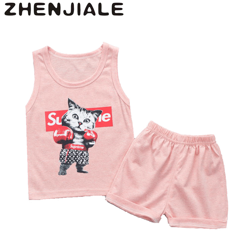 Baby Boys Girls Sets Clothes Monochrome Cartoon Boxing Cat T-shirts Vest Top Short Sleeves+Cool Elastic Pants Newborn Suit C1845