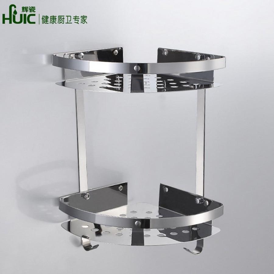 huici wall mounted corner shelf bathroom rack basket stainless steel bathroom shelf tripod cosmetic bathroom accessories