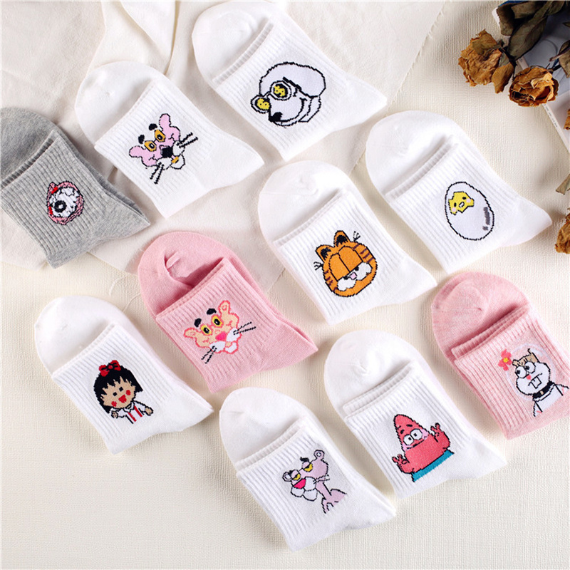 Dreamlikelin 1 Pair Harajuku Kawaii Cartoon Pink Panther/Chibi Maruko/Patrick Star/Egg Funny Women Cat White Cute   Socks