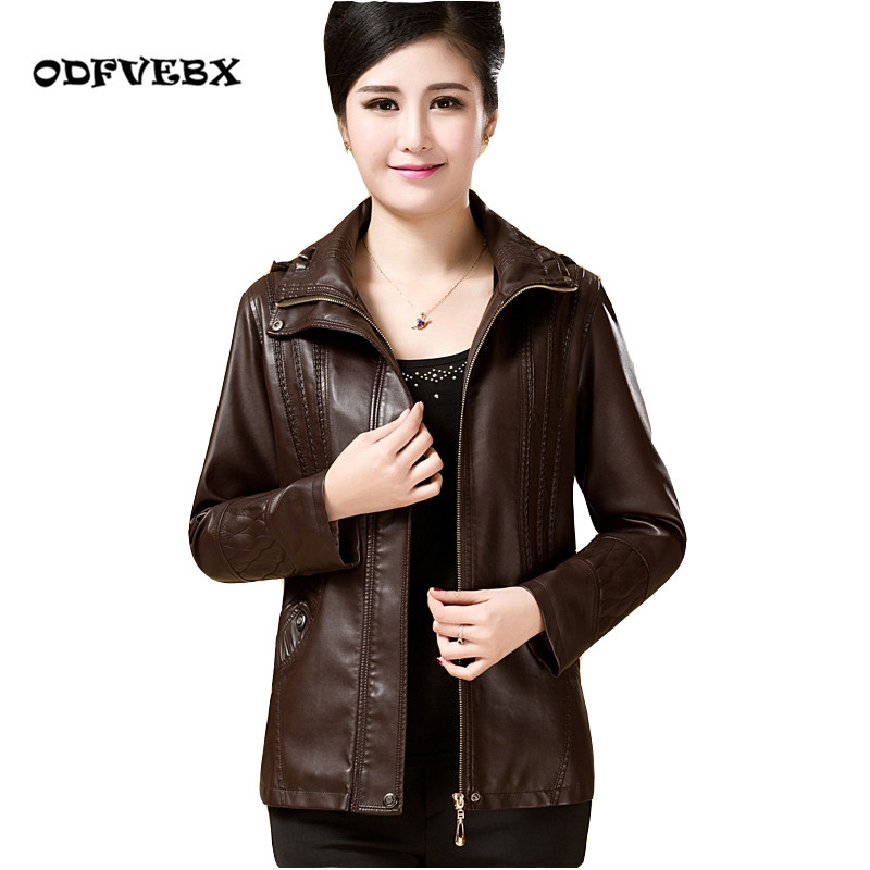 2019 Spring Autumn New   Leather   Jacket Female Middle Aged Plus Size PU   Leather   Fashion Short   Leather   Jacket Removable Cap Women