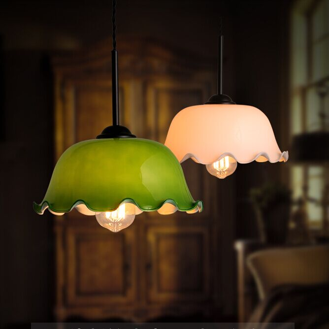 Retro personality single glass pendant lights kitchen cafe for Table lamp in kitchen