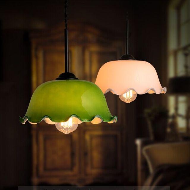 Retro Personality Single Gl Pendant Lights Kitchen Cafe Bar Lamp Chinese Lotus Shade Old Shanghai