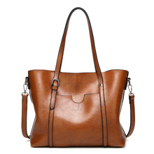 Women bag Oil wax Women's Leather Handbags Luxury Lady Hand
