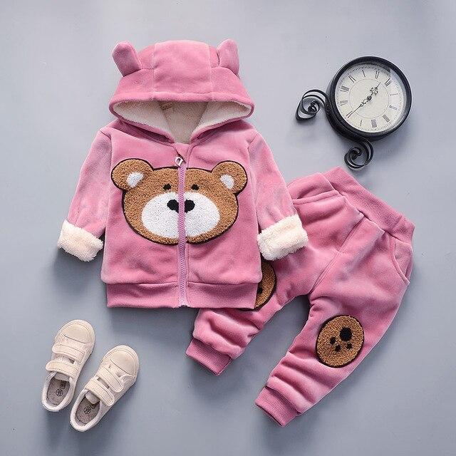 יילוד תינוק מזדמן עבה קטיפה נים + מכנסיים 2 PCS אימוניות פעוט בני בנות חם תלבושת Bebe בנות סתיו החורף אימונית
