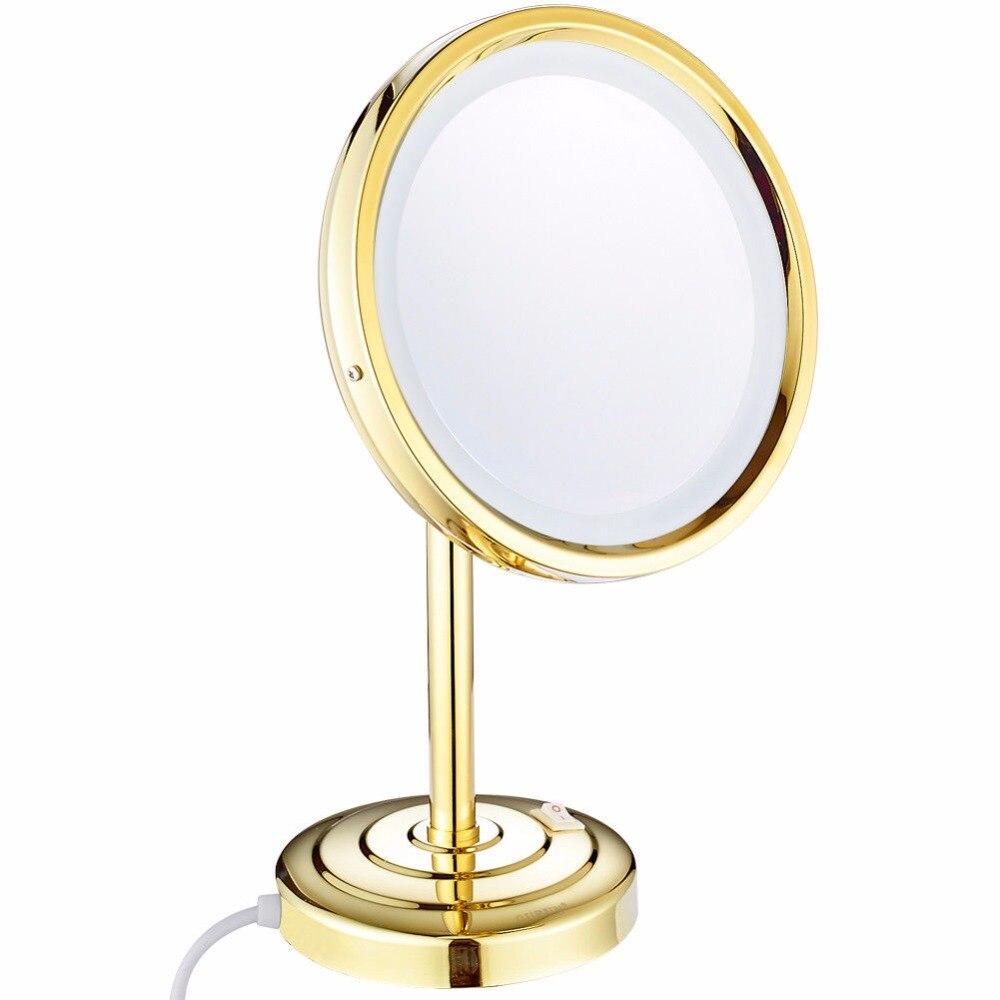 Gulun 8 дюймов 10x увеличительное настольное зеркало для макияжа с подсветкой светодиодный круглый латунный Регулируемый столешница стоящее З...