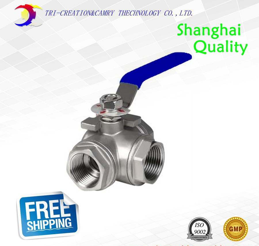 1 DN25 handle female ball valve,3 way 304 screwed/thread stainless steel ball valve_Manual AT T port gas/oil/liquid valve 3 8 pt female f f threaded green lever handle brass ball valve