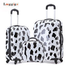 Cow picture design Carry-Ons,20″24″inch Luggage Set,Children Women's Lovely Suitcase, ABS Travel Bag,Universal wheel Trolley box
