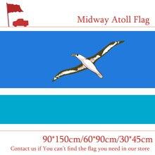 Free shipping 90*150cm 60*90cm U.S. Midway Atoll Flag 30*45cm Car 3x5ft 100d Digital Printed Banner