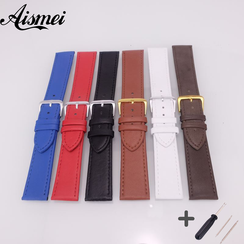 12mm 14mm 16mm 18mm 20mm 22mm 24mm Genuine Leather Watchband Soft Thin Watch Band Belt Suitable leather Strap Watch Accessories цена