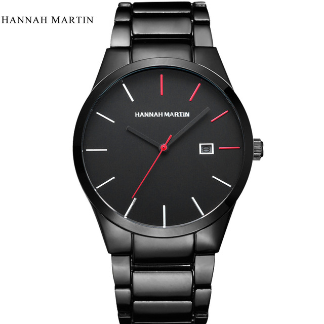 Top Luxury Brand Hannah Martin Men's Stainless Steel Watches Classic Simple Men Quartz Date Clock Wrist Watch Relogio Masculino