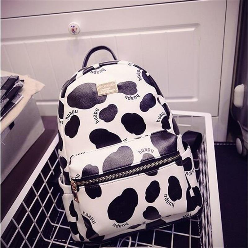 2016 new female student fashion Cow grain shoulder bag mini backpack bag trend PU leopard milk