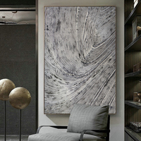 Abstract canvas Painting artist pure Hand painted High Quality Silver Knife Thick Oil Painting Abstract Grey Silver Oil Painting