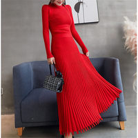 Korea Autumn Winter Women Knitted Sweater Pleated Dress Black Retro Elastic Sexy Slim Ladies Dresses Vestidos mujer Robes