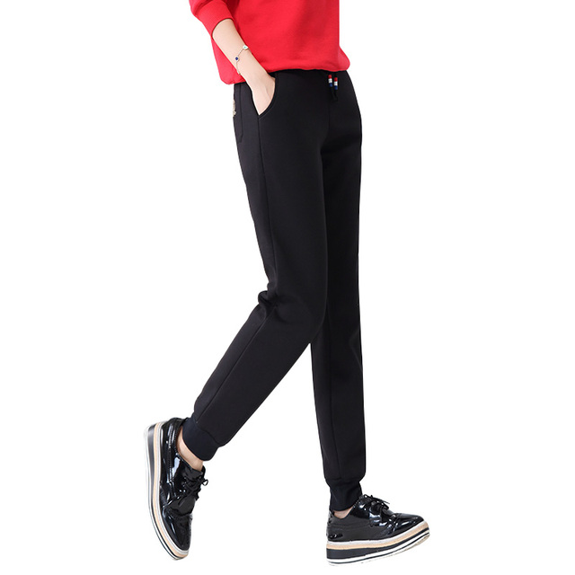 Winter Women Fleece Pants Sweatpants Women's Casual Stretch Feet Thick Velvet Warm 5XL Pants Trousers Sportswear For Female 0918 1