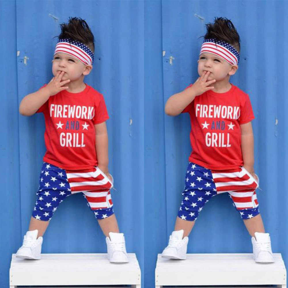 20de344e 4th of July US Flag Independence Day Stars and Stripe Patriotic Shirt  Shorts Set Outfit Baby Boy Summer Clothes Kids Clothes Boy