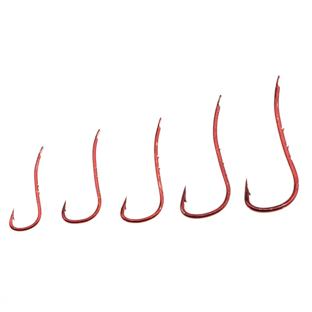 Rompin 100pcs Red color Baitholder Ryusen Hook Central Draught Fish Hook Size 10 12 14 16 18 Earth Worm Carp Fishing Bait Hooks