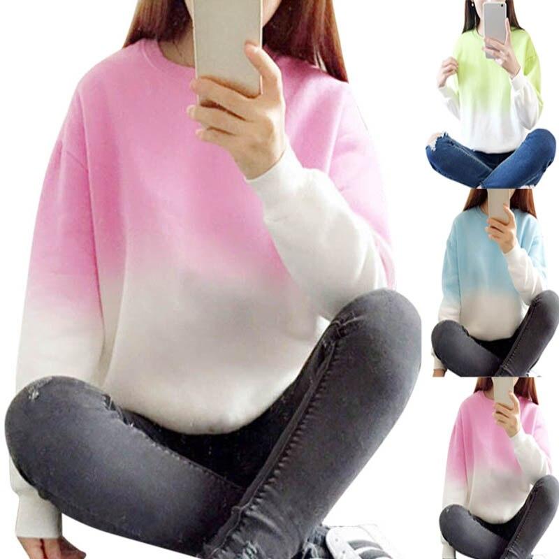 New Fashion Women Long Sleeve Sweatshirt Slim Fit Autumn Spring O-Neck Sweatshirt Pullover Tops LB