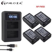 4Pcs 2000mAh NP FW50 NP FW50 Battery AKKU LED Dual Charger For Sony Alpha A6500 A6300
