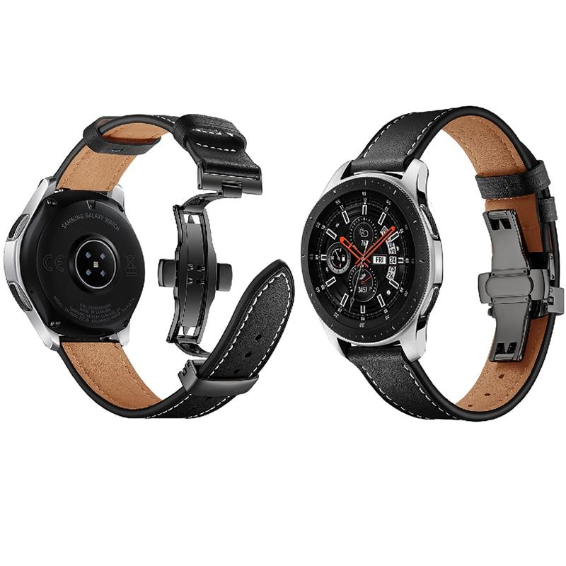 Date en cuir véritable Sas pour Samsung Galaxy montre 46mm en acier papillon montre bracelet bande Gear S3 classique frontière Huawei montre - 2