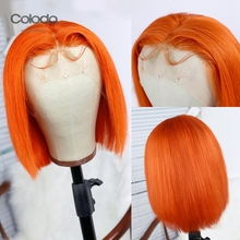 COLODO Orange Color Short Human Hair Wigs Brazilian Remy Light Blue Human Hair Wig Preplucked Bob Lace Front Wigs For Women
