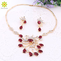 New Gorgeous Jewelry Phoenix Bird Rhinestone Crystal Statement Necklace Earring Wedding Party Jewelry Set For Brides