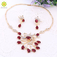 New Gorgeous Jewelry Phoenix Bird Rhinestone Crystal Statement Necklace Earring Wedding Party Jewelry Set For Brides Accessories