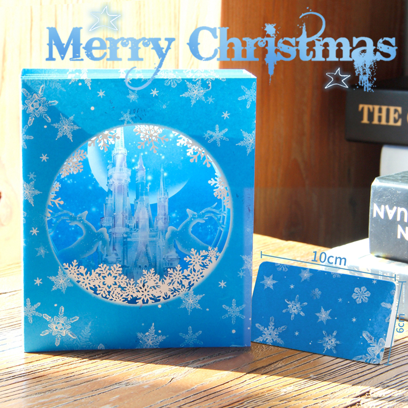 Icy Castle Pop up Christmas Card Halloween Thanksgiving Greeting Card Merry Christmas Happy New Year Card with Delicate NoteCard 3d pop up handmade christmas snow man happy new year greeting card
