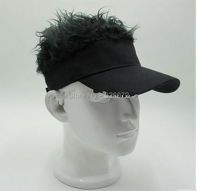 Hot Fashion Novelty Baseball Cap Fake Flair Hair Sun Visor Hats Man s  Women s Toupee Wig Outdoor Funny Hair Loss Cool Golf Caps aac9cee26363