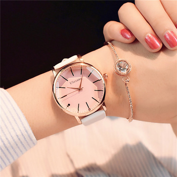 Polygonal dial White Leather Wrist Watch