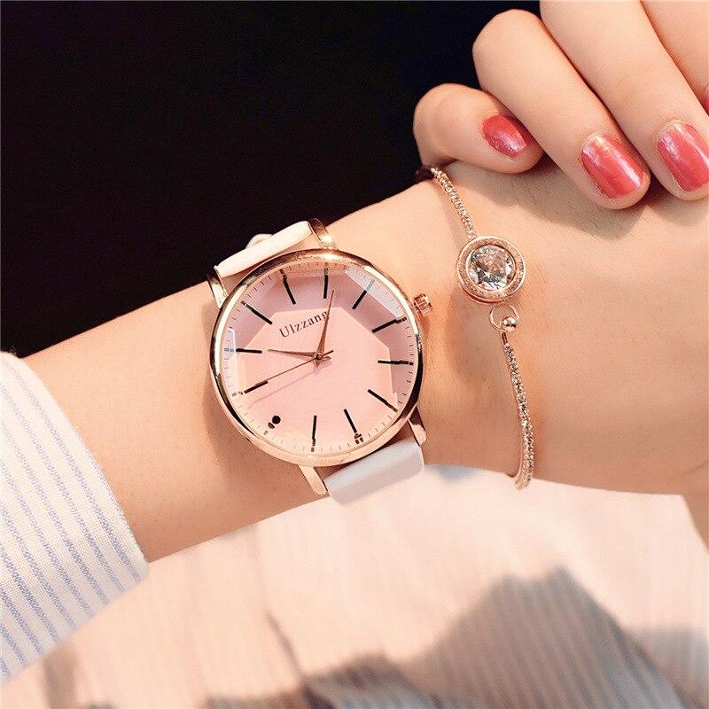 Poligonal dial diseño mujeres relojes de lujo vestido de moda reloj de cuarzo ulzzang popular marca de cuero blanco de las señoras reloj de pulsera