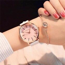 Reloj de pulsera de cuero para mujer con diseño de esfera poligonal