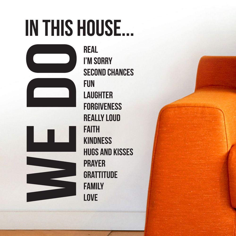 Reglas de la casa grande de vinilo cita pegatinas de pared decoración del hogar