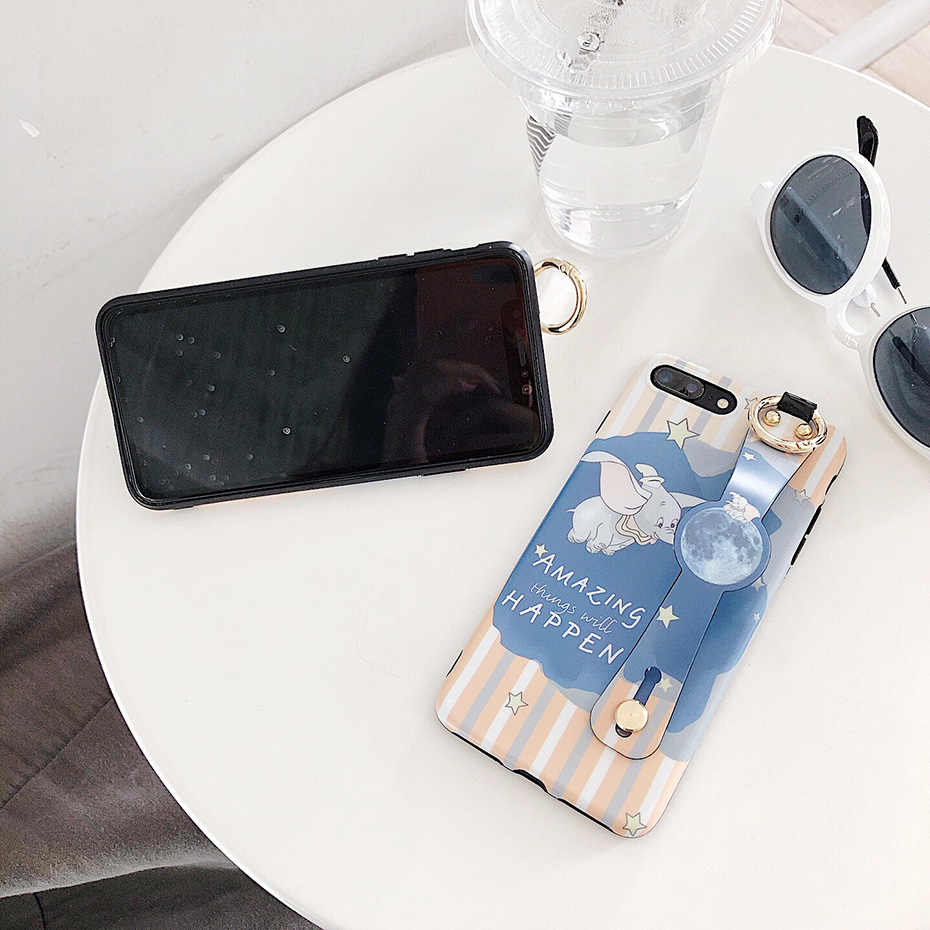 Dumbo per il Caso di iphone 11 Pro X XR XS Max Sveglio Del Fumetto Da Polso Cinghia di Supporto Del Telefono Custodie per il iphone 7 8 6S 6 Più Copertura Posteriore Funda