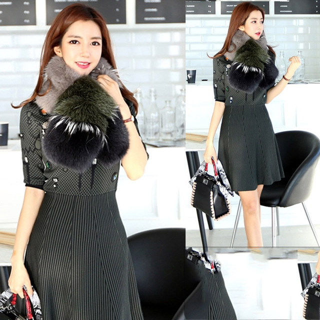 Brand Besty Women Real Fox Fur Scarf With Genuine Silk Linning  2016 New Arrival Cute Asian Style Scave Cape