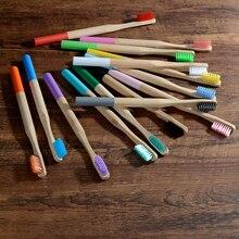 10 pack szczoteczka bambusowa średniej włosie biodegradowalne tworzywo sztuczne darmowe szczoteczki do zębów cylindryczne niskoemisyjne Eco pędzel z bambusowym uchwytem