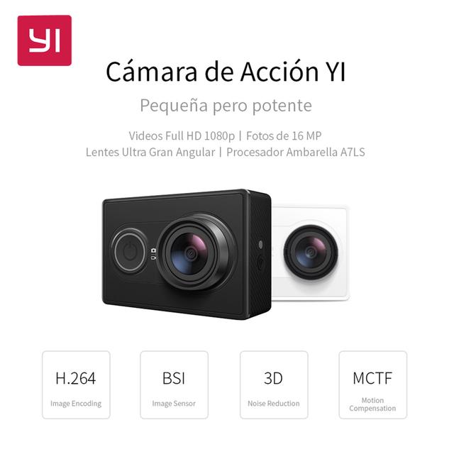 Câmera ação 1080 p 16.0mp yi embutido wifi 3d redução de ruído mini câmera de esportes de 155 graus ultra-grande angular lente
